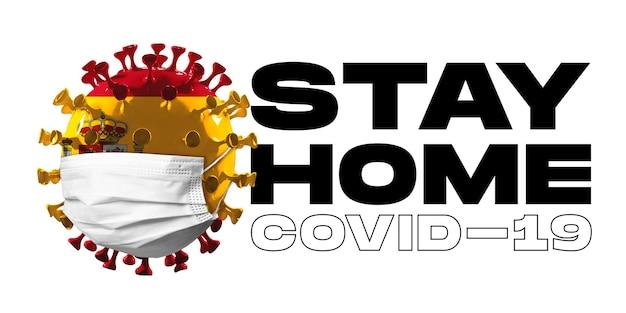 Covid-19 코로나바이러스 모델은 얼굴 마스크, 전염병 확산, 의학 및 건강 관리의 개념으로 스페인 국기에 색칠되어 있습니다. 전세계 전염병, 검역 및 격리, 보호. 집에있어 라.