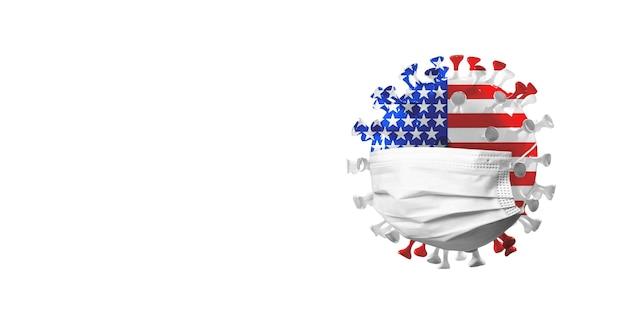 Covid-19 코로나바이러스 모델은 미국 국기에 얼굴 마스크, 전염병 확산, 의학 및 건강 관리의 개념입니다. 전세계 전염병, 검역 및 격리, 보호. 카피스페이스.
