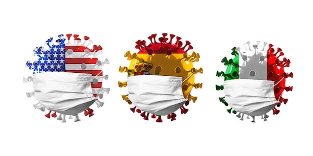 미국, 스페인, 이탈리아 국기에 색칠된 covid-19 코로나바이러스 모델은 얼굴 마스크, 전염병 확산, 의학 및 건강 관리의 개념입니다. 전염병, 검역 및 격리, 보호. 카피스페이스.