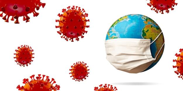 Covid-19 코로나바이러스 모델은 얼굴 마스크, 전염병 확산, 의학 및 의료의 개념을 쓰고 지구 주변에 붉은 색으로 퍼져 있습니다. 전염병, 검역 및 격리, 보호.