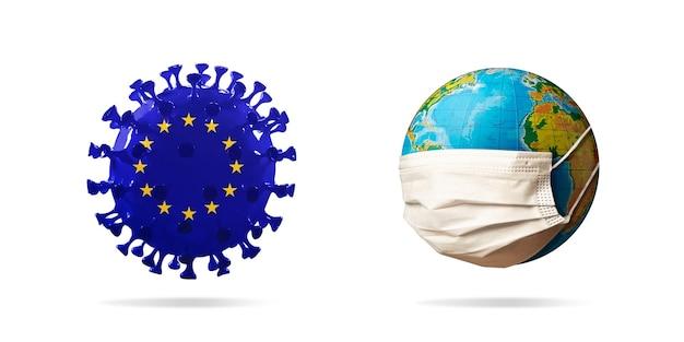 얼굴 마스크를 쓰고 지구 근처의 유럽 연합 국기에 색칠된 covid19 코로나바이러스 모델