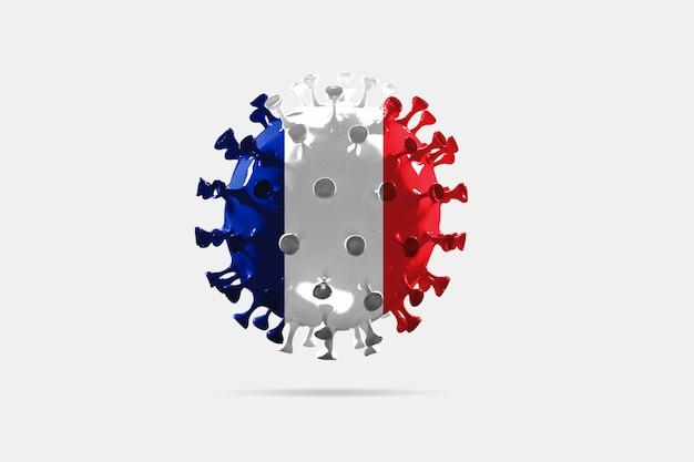 Covid19 코로나바이러스의 모델은 대유행의 프랑스 국기 개념으로 채색되었습니다.