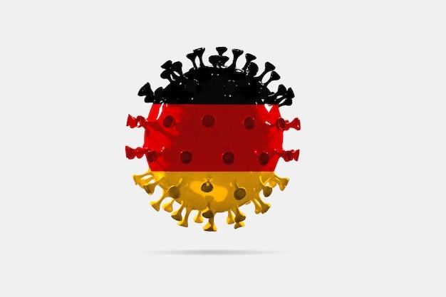 Covid19 코로나바이러스 모델은 대유행의 독일 국기 개념으로 채색되었습니다.