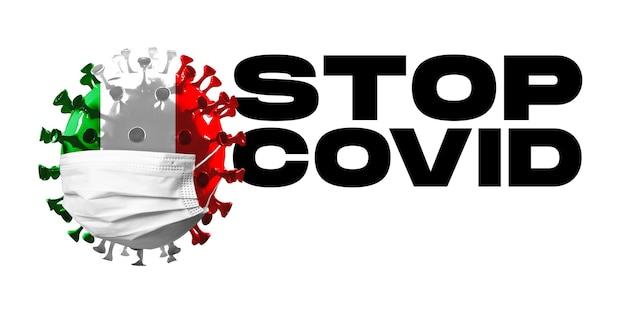 전염병의 얼굴 마스크 개념에서 이탈리아 국기에 색칠된 covid19 코로나바이러스 모델