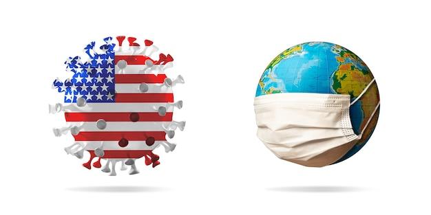 얼굴 마스크를 쓰고 지구 근처의 미국 국기에 색칠된 covid19 코로나바이러스 모델
