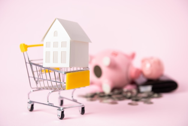Model paper house in shopping cart and piggy bank isolated
