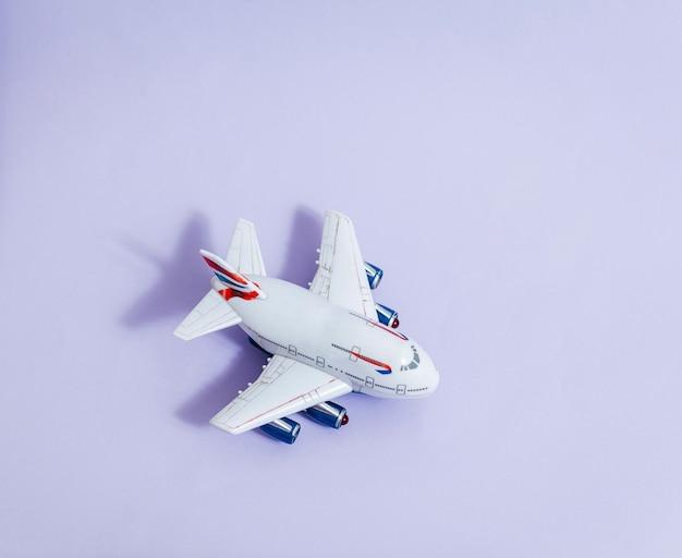 模型飛行機、紫の色空間の飛行機