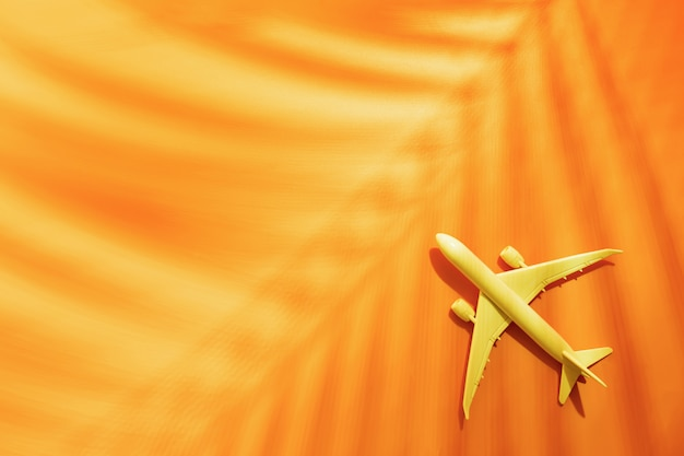 Model plane, airplane on orange with copy space and tropical palm leaf