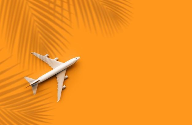 模型飛行機、パステルカラーの背景にココナッツの葉を持つ飛行機