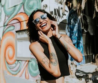 Model posing on the street of Venice Beach