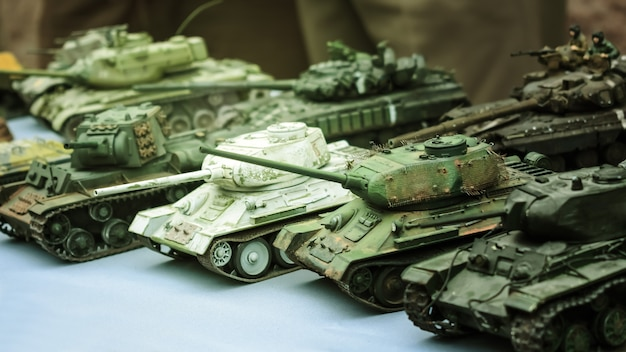 Model toy miniature soviet tanks. various camouflage military tank