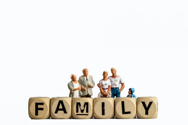 Model toy old man, man woman and girl are family , isolate family figure for used in people