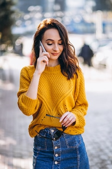 Model woman talking on the phone