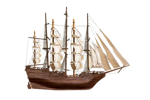 Model of the wooden antique schooner isolated on white