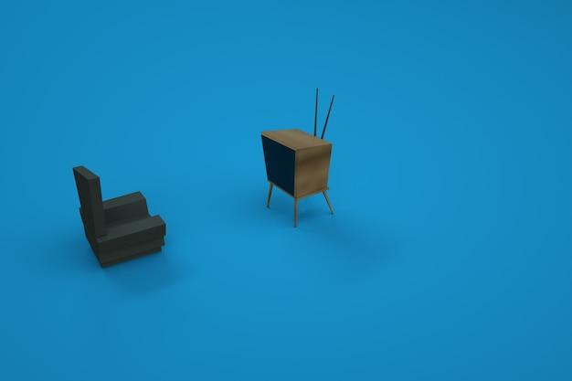 의자와 tv 모델. 가정용 가구, 의자, 소파. 가구의 3d 그래픽. 컴퓨터 그래픽. 파란색 배경에 고립 된 개체