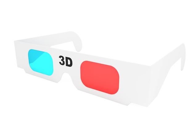 흰색 바탕에 현대적인 3d 시네마 안경