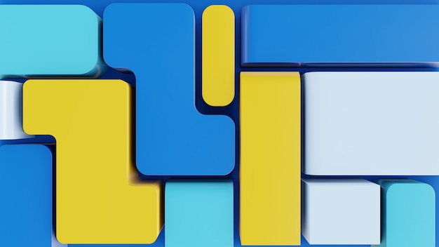 파란색과 노란색 색상으로 현대 추상 3d 모양 배경