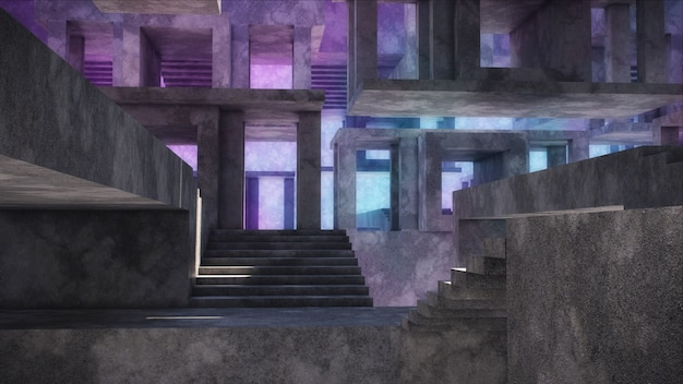 Modern abstract architecture. concrete structures.