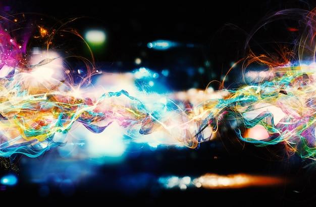 Современный абстрактный красочный световой баннер движения на темном фоне
