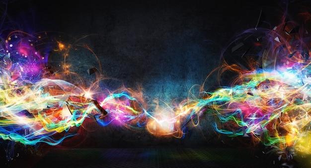 Современный абстрактный красочный световой баннер движения на темноте