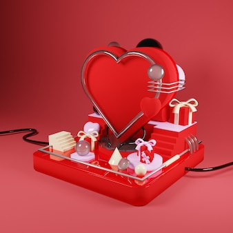 Modern abstract love on the podium illustrarion - 3d rendering