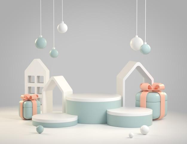 현대 추상 모형 디스플레이 축제 장식 개체 배경 3d 렌더링