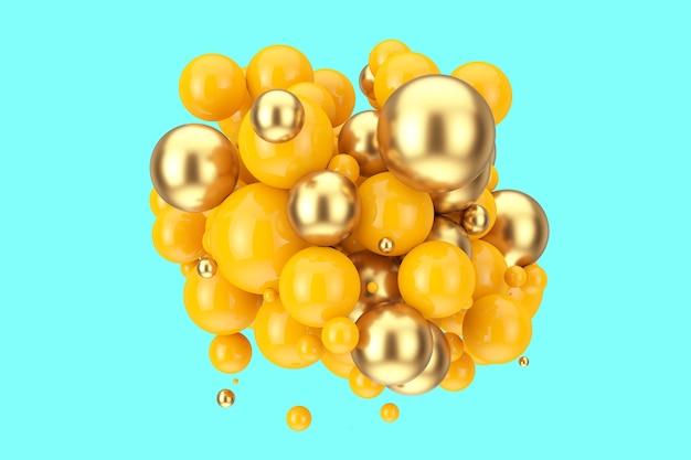 青の背景にモダンな抽象的なオレンジとゴールドのボール。 3dレンダリング
