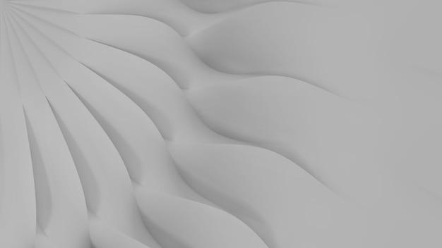 센트에 수렴하는 물결 모양의 흰색 3 차원 꽃잎 세트의 현대 추상 파라 메트릭 3 차원 배경. 3d 일러스트레이션