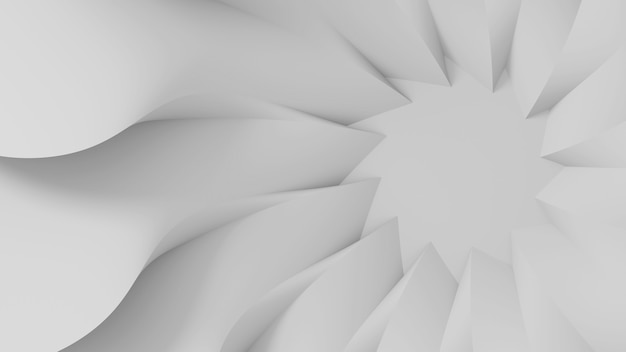 Modern abstract parametric three-dimensional background of a set of wavy swirling white three-dimensional petals converging in a cent. 3d illustration