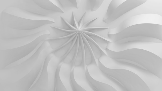 Modern abstract parametric three-dimensional background of a set of wavy swirling white three-dimensional petals converging in a cent