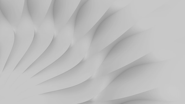 Modern abstract parametric three-dimensional background of a set of wavy white three-dimensional petals