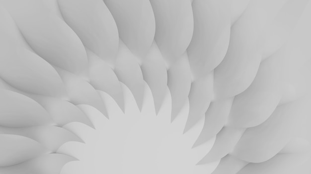 Modern abstract parametric three-dimensional of a set of wavy white three-dimensional petals converging in a cent