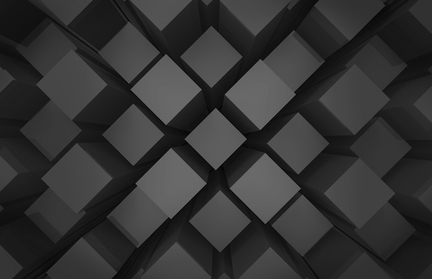 Modern abstract random black square cube box bar stack wall