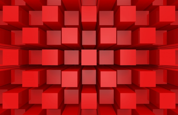 Modern abstract random red square cube box bar stack wall