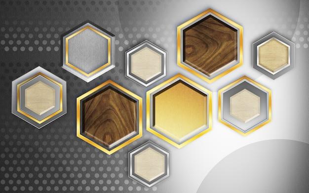 Современные абстрактные обои 3d иллюстрации деревянные и золотые шестиугольной формы в серебряном фоне Premium Фотографии