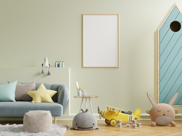 子供部屋のインテリア、3dレンダリングのモダンでデザインのモックアップポスター