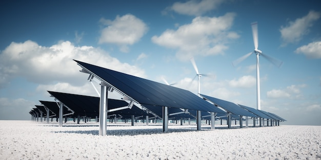 Современные и футуристические эстетические черные солнечные панели большой фотоэлектрической электростанции с ветряными турбинами на заднем плане в хорошую солнечную дневную погоду с частичным облачным голубым небом. 3d-рендеринг.