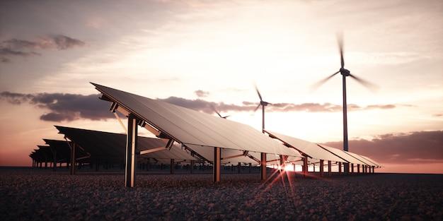 따뜻한 일몰 빛을 배경으로 풍력 터빈이 있는 대형 태양광 발전소의 현대적이고 미래적인 미적 검은색 태양 전지판. 3d 렌더링.