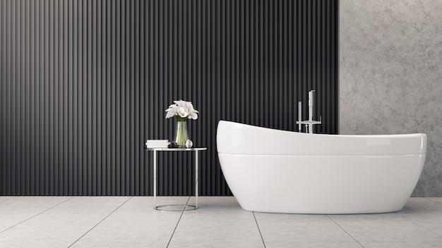 モダンとロフトのバスルームのインテリアデザイン、コンクリート床の白いバスタブ