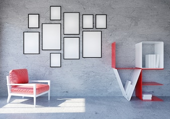 Modern and Loft room interior with word Love book shelf for Valentine's day, 3D rendering