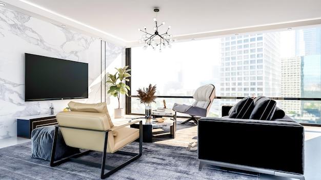큰 창문이있는 현대적이고 고급스러운 아파트 거실 인테리어