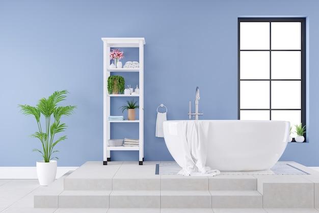 モダンで豪華なバスルームのインテリアデザイン、青い壁の白いバスタブ