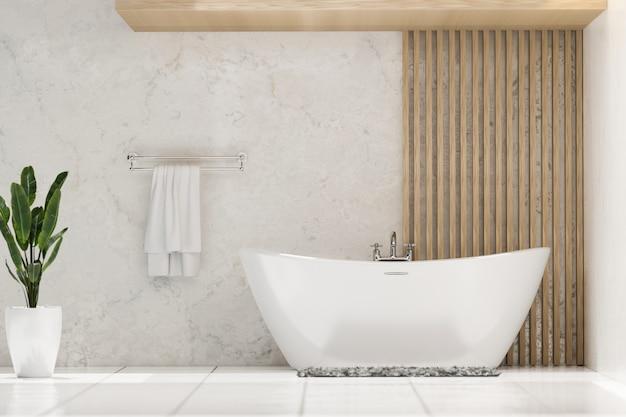 Современная и стильная ванная комната с роскошной ванной комнатным растением и полотенцем в мраморной стене 3d-рендеринга