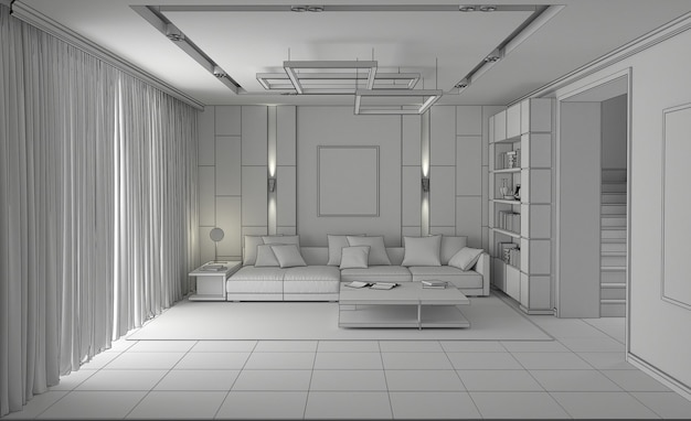 Современный интерьер квартиры, 3д иллюстрация