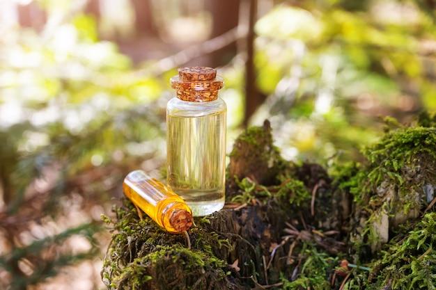 Современный аптекарь. натуральное еловое масло на деревянной поверхности в лесу среди елей.