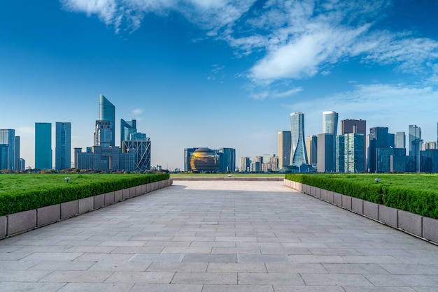 Modern architectural landscape of hangzhou qianjiang new town cbd