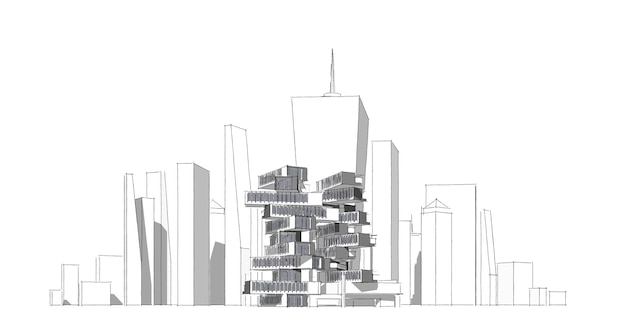 Modern architecture wireframe, abstract architectural drawing, 3d illustration