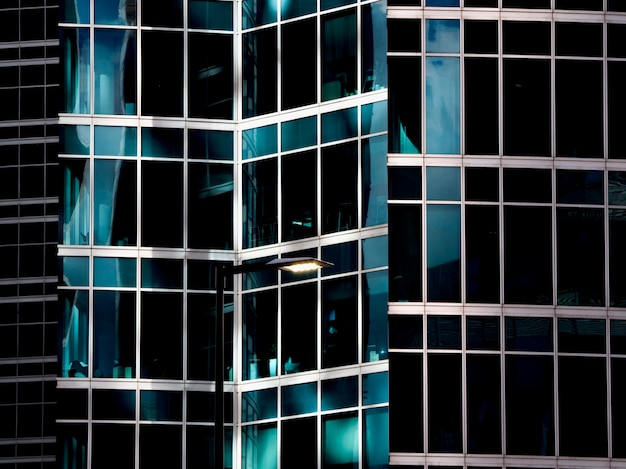 Modern architecture with walls made of blue glass