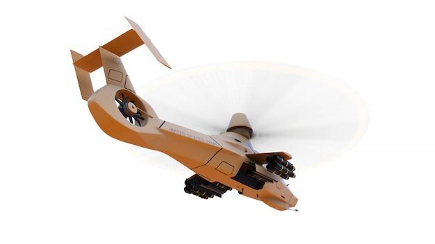 近代的な軍用ヘリコプターで、白いスペースに武器が満載されています。 3 dイラスト。