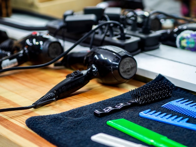 Modern arrangement of a barber shop desk